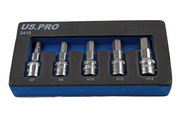 "US Pro 5 piece set of 1/2"" drive metric hex bit sockets 7, 8, 10, 12, 14mm 60mm length B3410"
