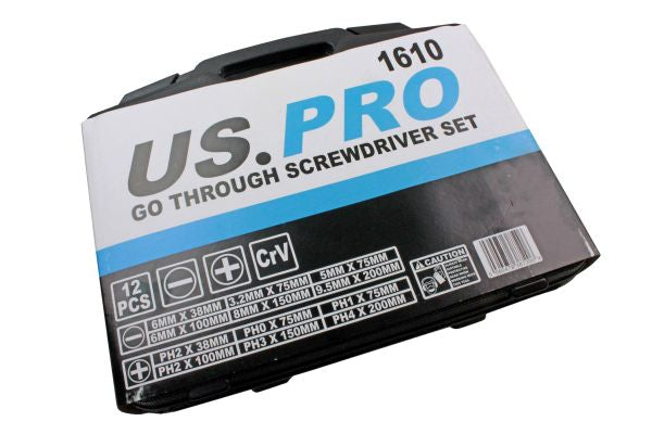 US Pro 12pc Go-through Screwdrivers Set, Screw Driver Slotted, Philips B1610