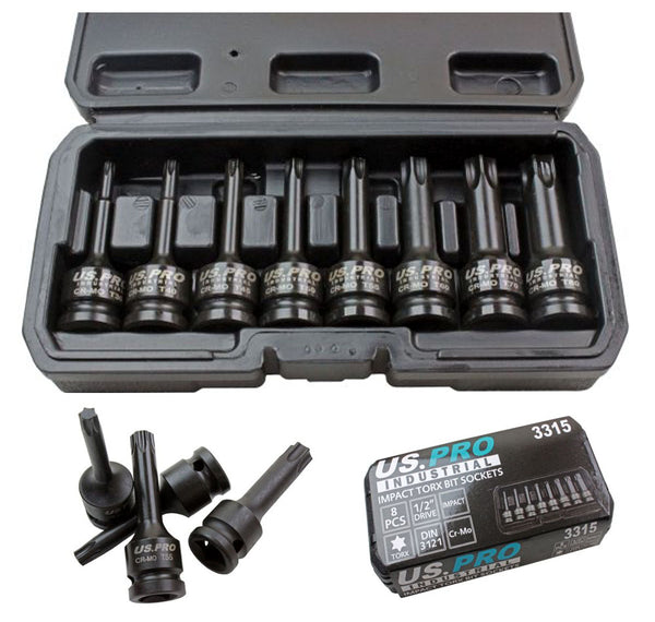 US Pro by Bergen 8pc 1/2 Impact Torx TRX-Star Socket Bit Set T30-T80 Cr-Mo 80mm long B3315