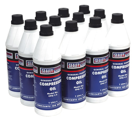 Sealey Compressor Oil 1ltr Pack of 12 CPO/1