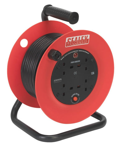 Sealey Cable Reel 25mtr 4 x 230V 1.5mm² Heavy-Duty Thermal Trip CR25/1.5