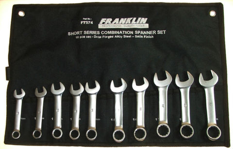 Franklin Tools 10pc Short Combi Spanner Set 8-19 FT574