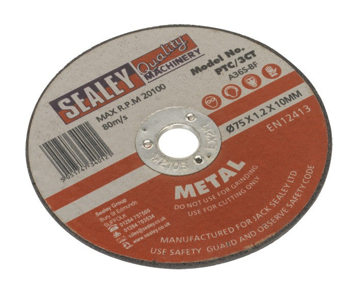 Sealey Cutting Disc Ø75 x 1.2mm 10mm Bore PTC/3CT