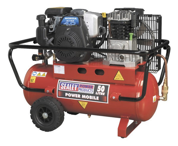Sealey Compressor 50ltr Belt Drive Petrol Engine 4hp SA5040