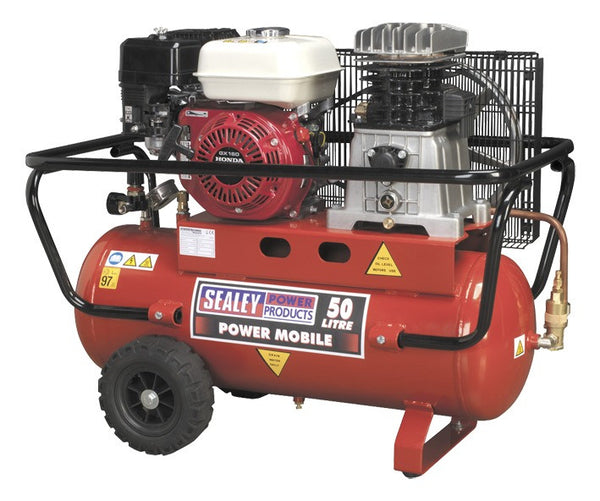 Sealey Compressor 50ltr Belt Drive Petrol Engine 5.5hp SA5055