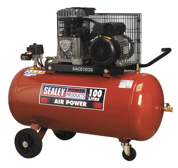 Sealey Compressor 100ltr Belt Drive 2hp with Cast Cylinders & Wheels SAC0102B