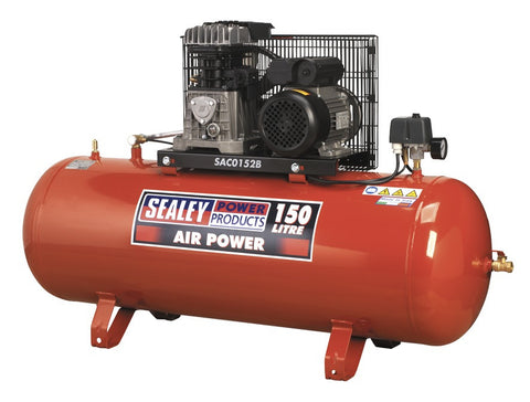 Sealey Compressor 150ltr Belt Drive 2hp with Cast Cylinders SAC0152B
