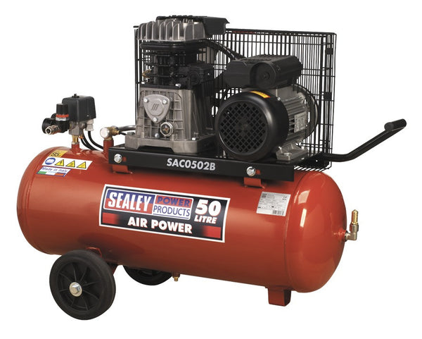 Sealey Compressor 50ltr Belt Drive 2hp with Cast Cylinders & Wheels SAC0502B
