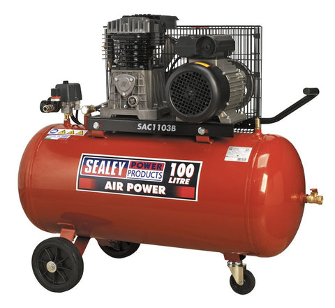 Sealey Compressor 100ltr Belt Drive 3hp with Cast Cylinders & Wheels SAC1103B