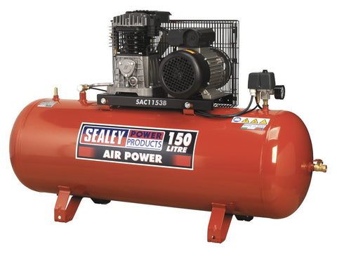 Sealey Compressor 150ltr Belt Drive 3hp with Cast Cylinders SAC1153B