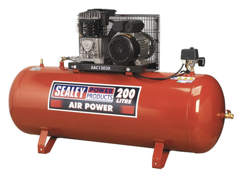 Sealey Compressor 200ltr Belt Drive 3hp with Cast Cylinders SAC1203B