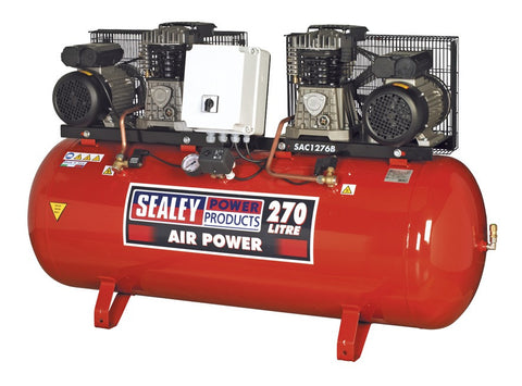 Sealey Compressor 270ltr Belt Drive 2 x 3hp with Cast Cylinders SAC1276B