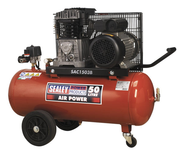 Sealey Compressor 50ltr Belt Drive 3hp with Cast Cylinders & Wheels SAC1503B