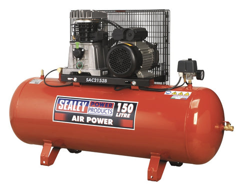 Sealey Compressor 150ltr Belt Drive 3hp with Cast Cylinders SAC2153B