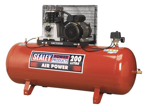 Sealey Compressor 200ltr Belt Drive 3hp with Cast Cylinders SAC2203B