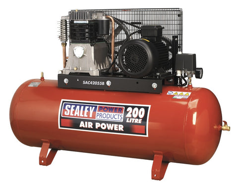 Sealey Compressor 200ltr Belt Drive 5.5hp 3ph 2-Stage with Cast Cylinders SAC42055B