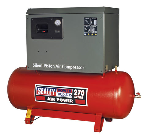 Sealey Compressor 270ltr Belt Drive 5.5hp 3ph 2-Stage with Cast Cylinders Low Noise SAC42755BLN
