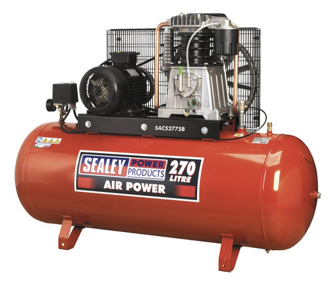 Sealey Compressor 270ltr Belt Drive 7.5hp 3ph 2-Stage with Cast Cylinders SAC52775B
