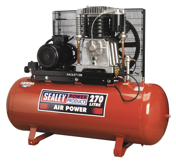 Sealey Compressor 270ltr Belt Drive 10hp 3ph 2-Stage with Cast Cylinders SAC62710B