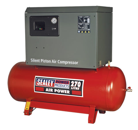 Sealey Compressor 270ltr Belt Drive 7.5hp 3ph 2-Stage with Cast Cylinders Low Noise SAC72775BLN