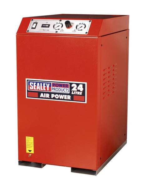 Sealey Compressor 24ltr V-Twin Direct Drive 2.5hp Cabinet Low Noise SAC82425VLN