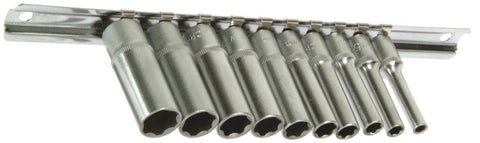 "Franklin Tools 10pce Deep Sockets 4-13mm 1/4""dr XL1410"