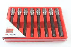 "Bergen 8 piece 1/2 long torx TRX-Star BIT SOCKET SET 1/2"" Drive 8pc B1122"