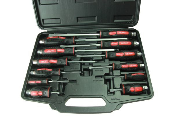 US.PRO by Bergen 12pc Mechanic GO-THROUGH INDUSTRIAL SCREWDRIVERS B1503