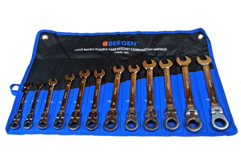BERGEN 12pc Flexible Ratchet Wrench Spanner Set 8-19mm B1893