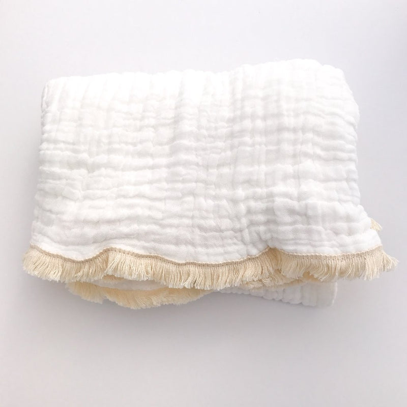 Fringed Organic Cotton Quilted Blanket