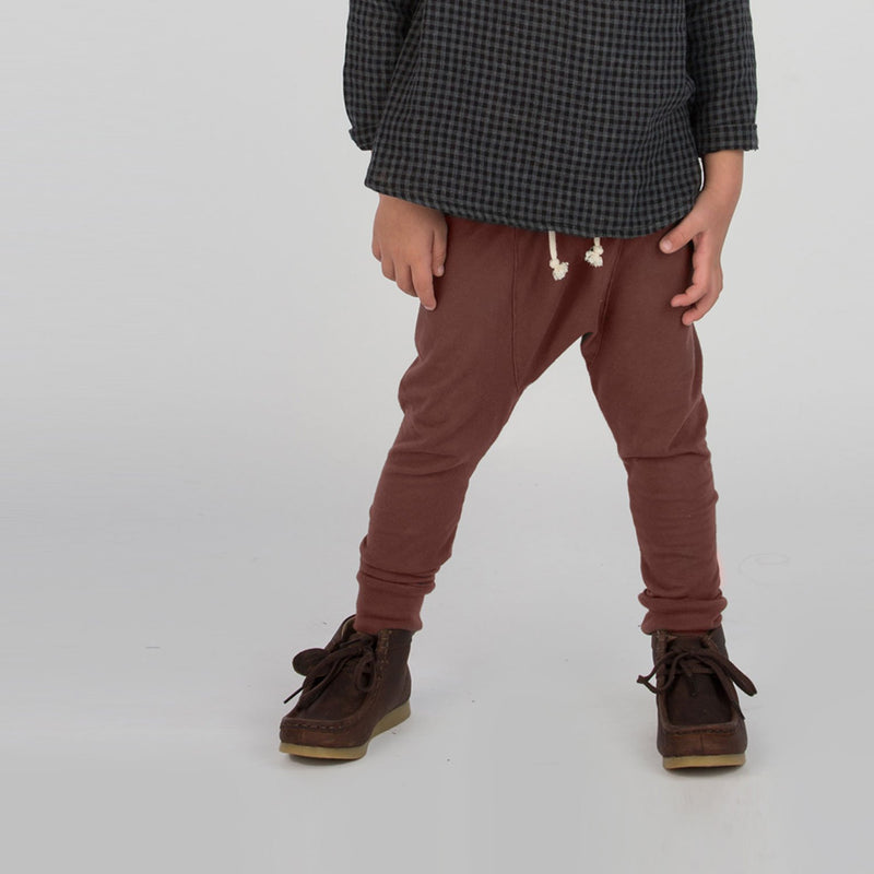 Boy wearing Go Gently jersey harem trousers