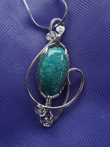Custom Wire Wrapped Amazonite Virginia Stone Necklace/Pendant sterling silver