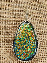 Load image into Gallery viewer, Custom Wire Wrapped Dichroic Glass Necklace/Pendant Sterling Silver