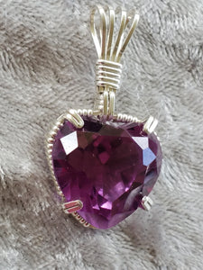 Custom Wire Wrapped Alexandrite Heart (corundum) Faceted Necklace