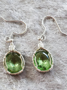 Custom Simulated Peridot (Corundum) Earrings Sterling Silver
