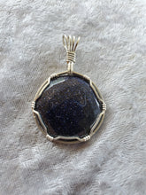 Load image into Gallery viewer, Blue Goldstone Faceted Stone Custom Necklace/Pendant Wire Wrapped Necklace