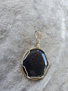 Blue Goldstone Faceted Stone Custom Necklace/Pendant Wire Wrapped Necklace