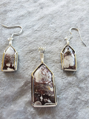 Custom Wild Horse Jasper set Earrings/necklace In Sterling Silver