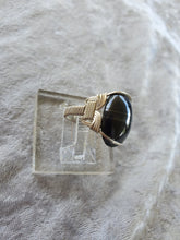 Load image into Gallery viewer, Custom Wire Wrapped Banded Hematite Ring Size 6 Sterling Silver