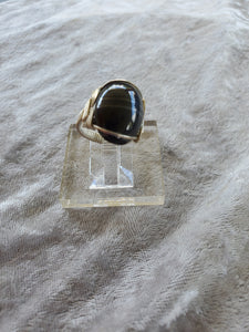 Custom Wire Wrapped Banded Hematite Ring Size 6 Sterling Silver