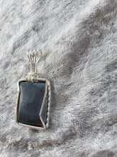 Load image into Gallery viewer, Custom Wire Wrapped JMU Blue Stone Necklace/Pendant Sterling Silver