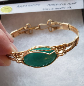 Custom Amazonite from Morefield Mine Amelia County VA bracelet 14kgf