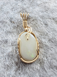Custom Opal from Lightening Ridge Australia Necklace 14kgf