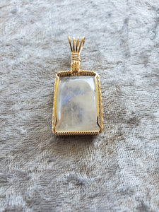 Custom Wire Wrapped Moonstone Necklace/Pendant 14kgf