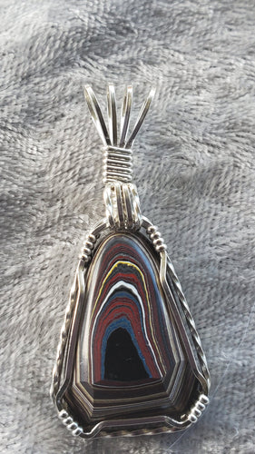 Custom Fordite Necklace Wire Wrapped in Sterling Silver