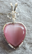 Load image into Gallery viewer, Custom Fiberstone Heart (cats eye) Necklace/Pendant in Sterling Silver
