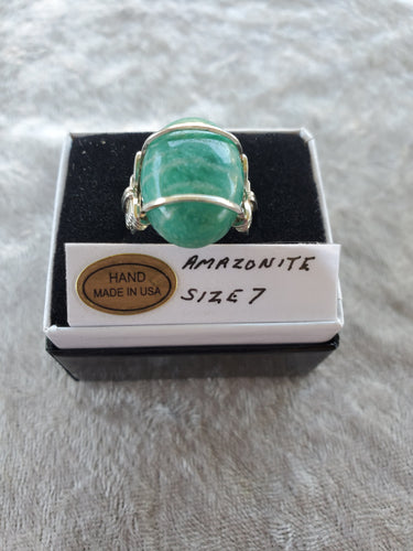 Custom Amazonite Ring Size 7  Wire Wrapped in Sterling Silver