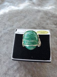 Custom Amazonite Ring Size 7 1/2  Wire Wrapped in Sterling Silver