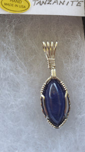 Custom Tanzanite Necklace Sterling Silver Wire Wrapped