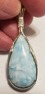 Custom Wire Wrapped  Larimar Necklace/Pendant in Sterling Silver